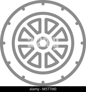 Simple car wheel line icon. Symbol and sign vector illustration design. Isolated on white background - Stock Photo