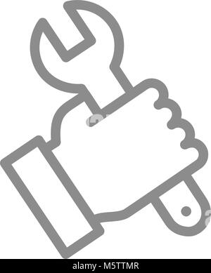 Simple wrench, spanner in hand line icon. Symbol and sign vector illustration design. Isolated on white background - Stock Photo