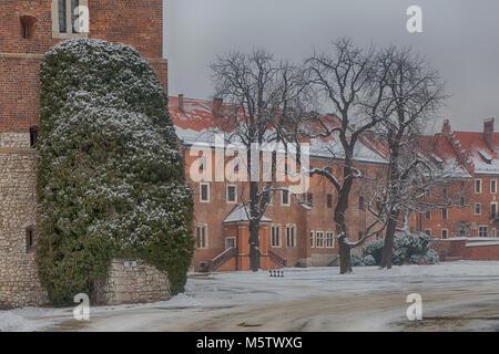 Krakow, Poland - February 12, 2018. Wawel Royal Castle On Wawel Hill - Stock Photo