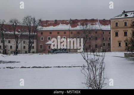 Krakow, Poland - February 12, 2018 Wawel Royal Castle On Wawel Hill - Stock Photo