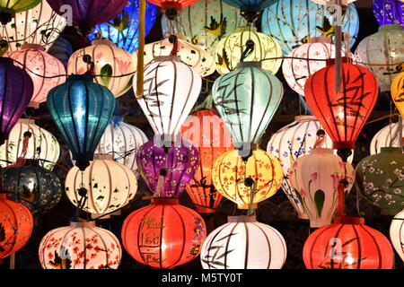 Brightly coloured lanterns on a local market  in Hoi An in Vietnam, Asia - Stock Photo