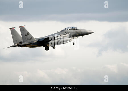 McDonnell Douglas, Boeing, F-15E Strike Eagle, 91-0335, of the 494th FS, 48th FW, USAFE, based and seen at RAF Lakenheath - Stock Photo