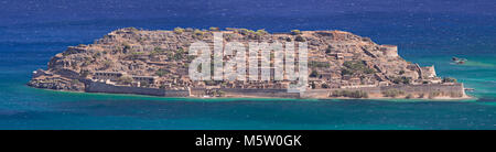 Panoramic view of the island of Spinalonga on the coast of Crete - Stock Photo