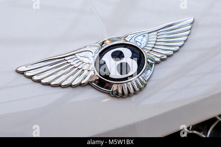 Samara, Russia - February 25, 2018: Bentley logo 'Flying B' on the car. Bentley Motors Limited is a British manufacturer - Stock Photo