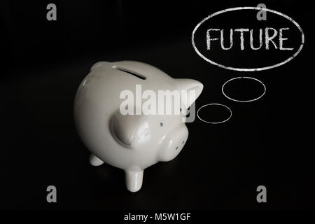 Piggy bank with thought bubbles, thinking FUTURE - Stock Photo
