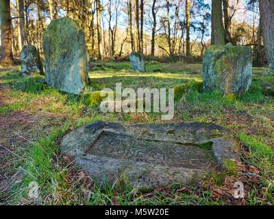 Doll Tor Bronze Age Stone Circle, six standing stones & a cairn, near Stanton Moor Peak, Peak District National - Stock Photo