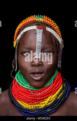 A Portrait Of A Girl From The Nyangatom Tribe, Lower Omo Valley, Ethiopia - Stock Photo