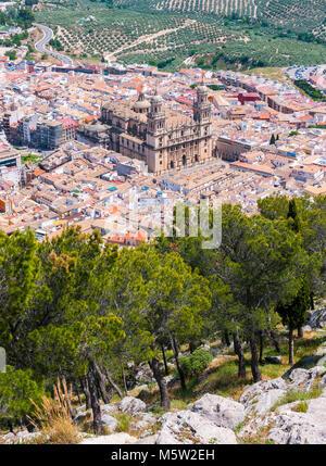 Vista aérea de la ciudad de Jaén y su catedral. Andalucía. España - Stock Photo