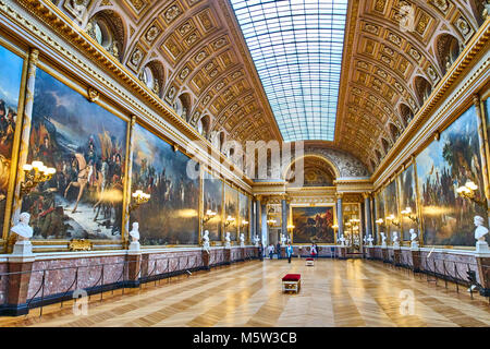 VERSAILLES, FRANCE - FEBRUARY 14, 2018: The Battle Gallery  in the southern wing of Palace of Versailles, the residence - Stock Photo
