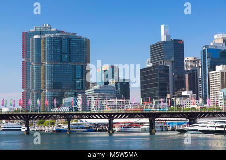 Barangaroo and Darling Harbour, Sydney, New South Wales, Australia - Stock Photo
