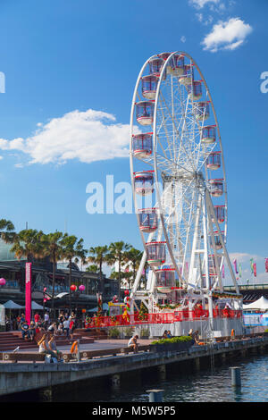 Ferris wheel in Darling Harbour, Sydney, New South Wales, Australia - Stock Photo