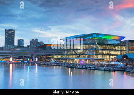 International Convention Centre at sunset, Darling Harbour, Sydney, New South Wales, Australia - Stock Photo