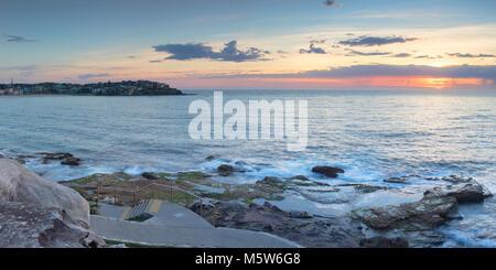 Bondi Beach at dawn, Sydney, New South Wales, Australia - Stock Photo