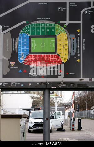 Stuttgart, Germany - February 03, 2018: The stadium plan of the Mercedes-Benz Arena with grandstands and seating - Stock Photo