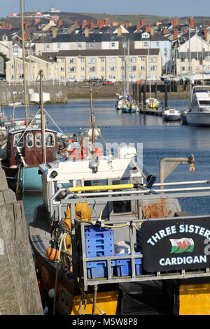 Aberystwyth fishing boats in the harbour at Aberystwyth Ceredigion Wales UK - Stock Photo
