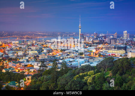 Auckland. Cityscape image of Auckland skyline, New Zealand taken from Mt. Eden at dusk. - Stock Photo