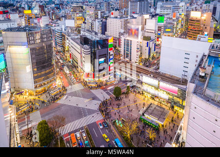 Shibuya, Tokyo, Japan cityscape over the scramble crosswalk. - Stock Photo