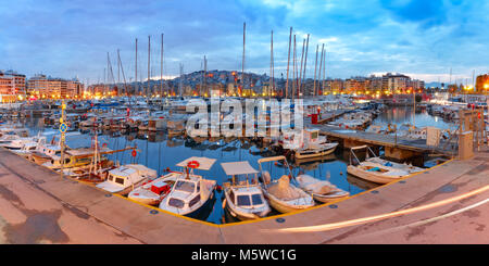 Night Piraeus Marina in Athens, Greece - Stock Photo