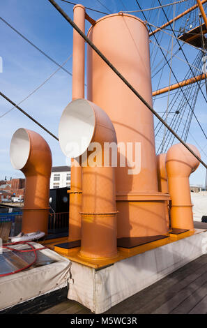 Steam funnel funnels, rigging & mast on upper deck of HMS Warrior – first of the Iron Clad class of ship. Portsmouth - Stock Photo