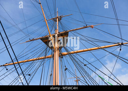Rigging and mast seen from upper deck of HMS Warrior – first of the Iron Clad class of ship. Portsmouth Historic - Stock Photo