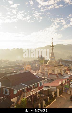Kalaw: town center, Aung Chan Thar Zedi pagoda, , Shan State, Myanmar (Burma) - Stock Photo