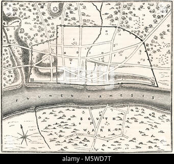 A plan of Roman London, known as Londinium, England.  From Old England: A Pictorial Museum, published 1847. - Stock Photo