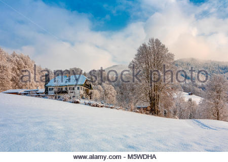 typical Bavarian architecture, winter glimpse, Ramsau, Berchtesgadener Land district, Upper Bavaria, Bavaria, Germany - Stock Photo