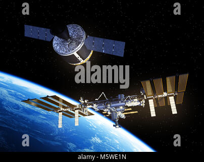 Cargo Spaceship Is Preparing To Dock With International Space Station - Stock Photo