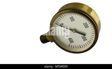Antique vintage brass pressure gauge with threaded pipe fitting on a white background - Stock Photo