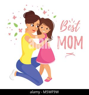 Vector cartoon style illustration of happy mother hugging daughter. Mother's day greeting card template on white - Stock Photo