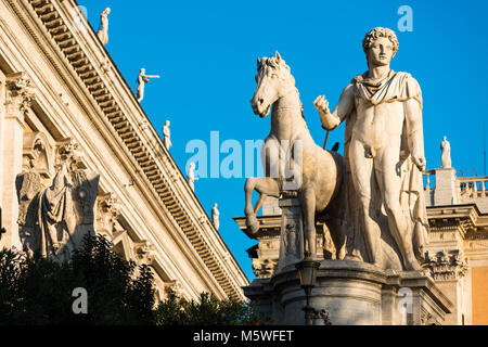 One of the two dioscuri (Gemini twins - or Castor and Pollux) statues on the Capitoline Hill in Rome. - Stock Photo