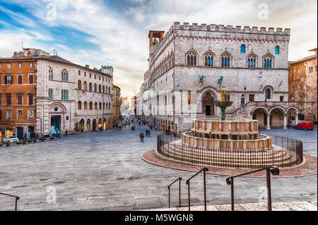 View of the scenic Piazza IV Novembre, main square and masterpiece of medieval architecture in Perugia, Italy - Stock Photo