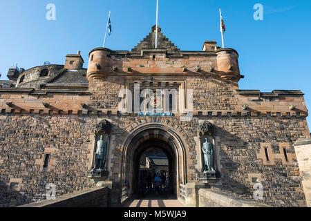View of entrance to Edinburgh Castle on esplanade in Edinburgh, Scotland, United Kingdom - Stock Photo