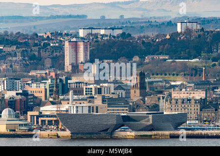 View over city of Dundee with new V&A Museum of Design in foreground  in Tayside, Scotland, United Kingdom - Stock Photo