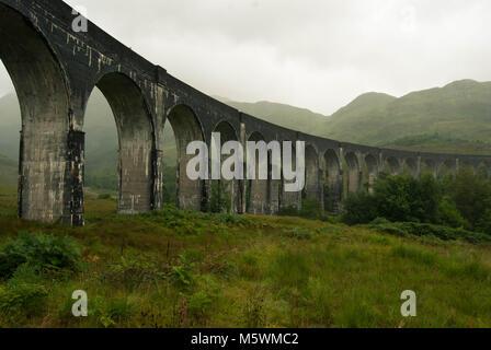 Glenfinnan viaduct in Scotland West Highlands - Stock Photo