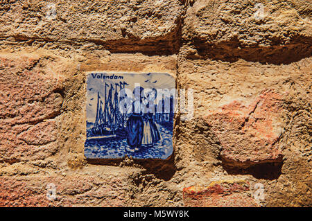 Close-up of ceramic tile attached to the wall in Colle di Val d Elsa. A Historical town, famous by its crystal production. - Stock Photo