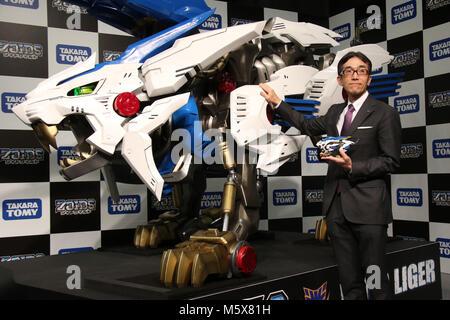 Tokyo, Japan. 27th Feb, 2018. Japan's toy giant Tomy new president Kazuhiro Kojima introduces the new motor drive - Stock Photo