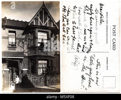 Old photograph of a middle of terrace house, 130 Ramuz Drive, Westcliff-on-Sea, Essex, England.  Photograph, dated - Stock Photo