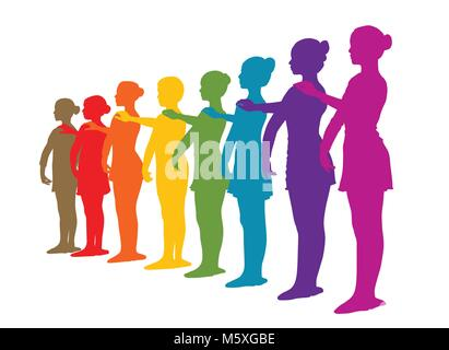 Rainbow row of ballet dancers - Stock Photo