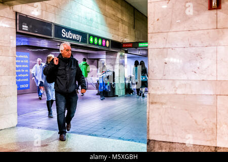 New York, USA - October 29, 2017: Grand central terminal entrance from subway in New York City with sign, people - Stock Photo
