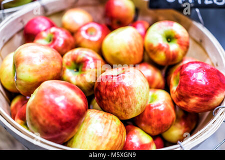 Closeup of many cortland pink lady honeycrisp red yellow apples in wooden basket at farmer's market shop store showing - Stock Photo