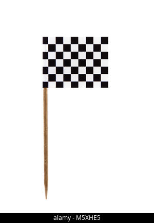 Tooth pick wit a small paper chequered flag - Stock Photo