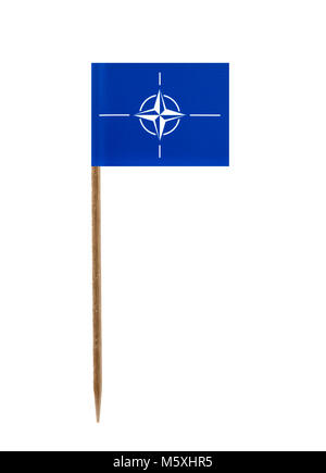 Tooth pick wit a small paper flag of Nato - Stock Photo