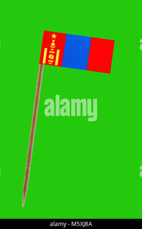 Tooth pick wit a small paper flag of Mongolia on a green screen for chromakey - Stock Photo