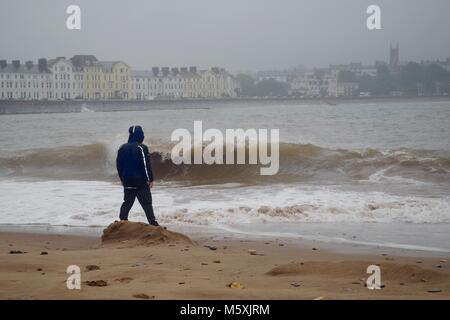 Lone Man in a Blue Goretex Raincoat, Stormwatching at Dawlish Warren Nature Reserve, Looking Towards Exmouth. English - Stock Photo