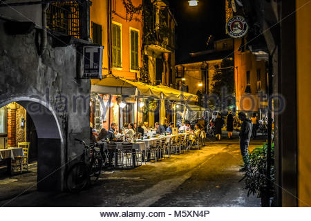 Late night in the village of Monterosso Al Mare, part of the Cinque Terre in Italy on the Italian Riviera as tourists - Stock Photo