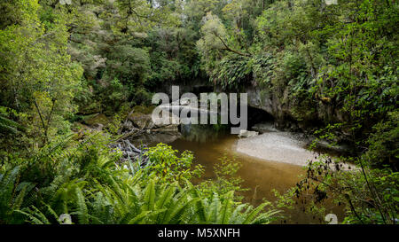 Mystic brown, reflective river flowing through Moria Gate Arch, Oparara Basin - Stock Photo