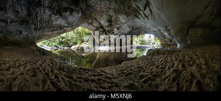 Moria Gate Arch - Huge Cave in New Zealand, Oparara Arches - Stock Photo