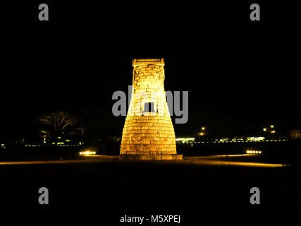 Cheomseongdae observatory at night in Gyeongju, South, Korea. The observatory dates to the seventh century and is - Stock Photo