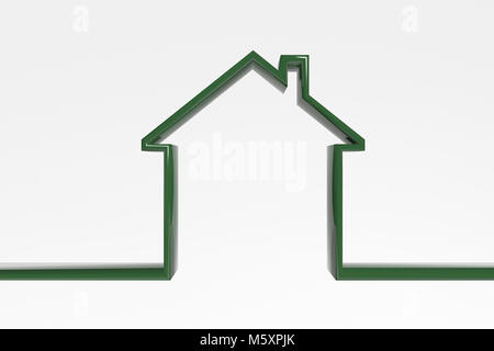 3D house outline. Green efficient house icon. symbol of a house - Stock Photo